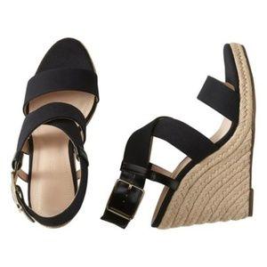 Black Tecla Espadrille Strappy Sandals Wedges